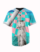 Real American Size  retro god 3D Sublimation Print Custom made Button up baseball jersey plus size