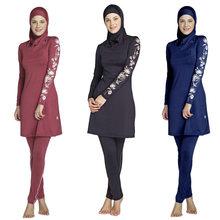 Women Plus Size Printed Floral Muslim Swimwear Hijab Muslimah Islamic Swimsuit Swim Surf Wear Sport Burkinis(China)