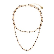 2016 New Stone Necklace Gold Necklace for Women Simple Plain Glass Beads Chokers Collier Sautoir Long Chain Jewelry Necklaces