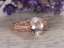 MYRAY 14k Rose Gold 8x10mm Oval Natural Pink Morganite Gemstone Antique Diamond Engagement Ring Wedding Anniversary Women Rings