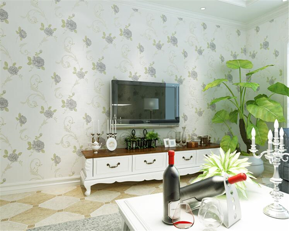 beibehang Fresh Pastoral Flower Gold Flocking Nonwoven 3d Wallpaper Bedroom Children Wedding Wallpaper papel de parede behang  <br>