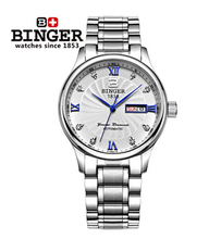Luxury Men Dress Watches Binger Fashion Auto Watch Steel Roman Analog White Gold Rhinestone Wristwatch 2017 New Big Discount
