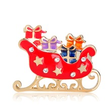 Blucome Red Enamel Santa Claus Sleigh Car With Gift Brooches Crystal Metal Alloy Hijab Pins Christmas Present Women Kids Brooch(China)