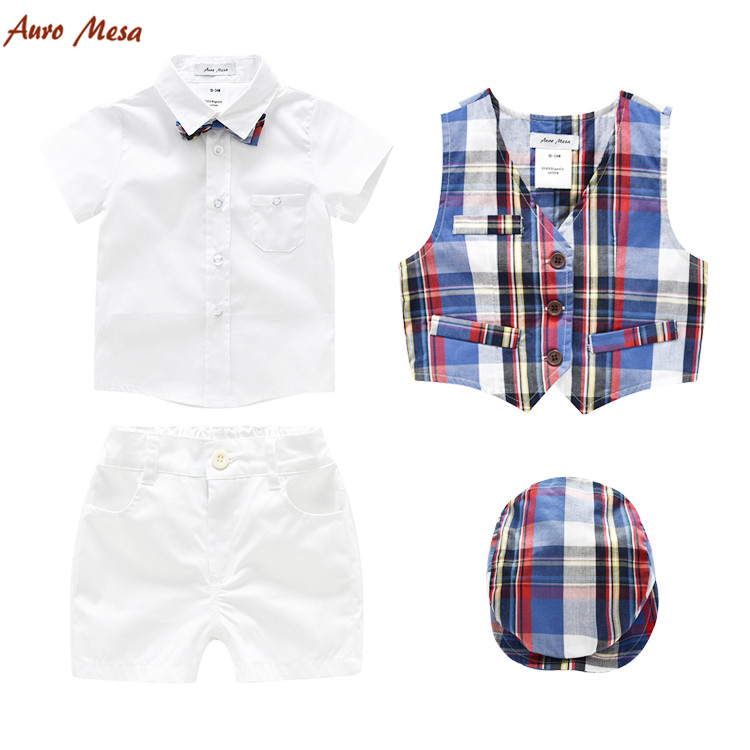 Fashion Summer Toddler Boy Clothing 5pcs Set Plaid Vest+Shirt+Tie+Shorts+Hats Clothes Outfit <br>