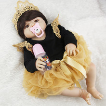 NPK 23inch Full Silicone Reborn Baby Dolls Princess Adorable Kids Brinquedos Toy The Best gift for girls&daughter Free Shipping(China)