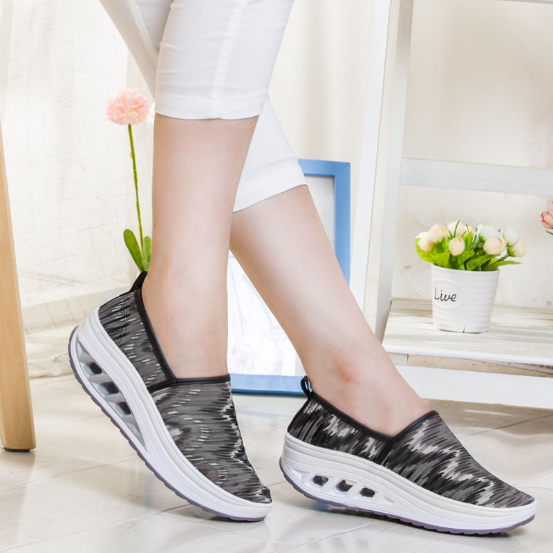 Breathable Cut-outs Women Toning Shoes Spring Summer Thick Soles Cushion Slimming Sneakers Loss Weight Slip-on Sports Shoes<br><br>Aliexpress