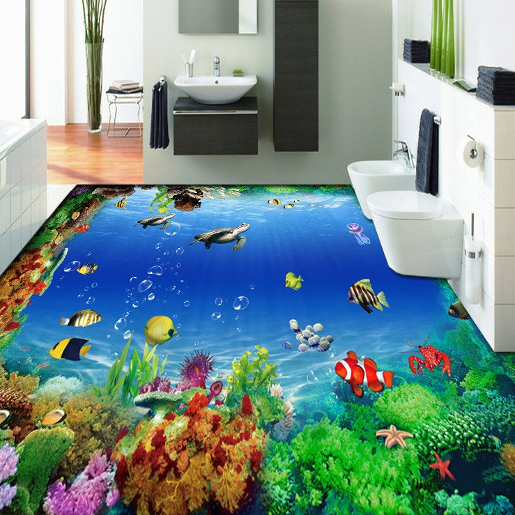 Free Shipping 3D marine fish sea turtles coral fish floor decorative painting dancing room office kitchen floor wallpaper mural<br><br>Aliexpress