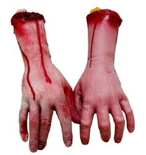 1pc Horror trick Toy Scary Prop Latex Stump Bloody Cut Hand Bone Halloween Gift Practical Joke rubber artificial broken hand GYH(China)