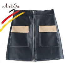Buy ArtSu Big Pockets Zipper Faux PU Leather Skirt 2017 Autumn Women High Waist Mini Skirt Winter Skirt Black Faldas Mujer ASSK20079 for $14.50 in AliExpress store