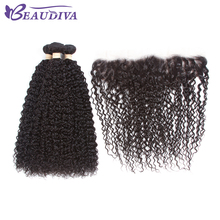 BEAUDIVA Pre-Colored 1B# Natural Color Kinky Curly Three Bundles With 13*4 Closure Can Be Dyed Human Hair Weave Remy Human Hair(China)