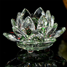 80mm Green Crystal Lotus Flower Glass Quartz Crafts Paperweight Home Wedding Decoration Ornaments Gifts Fengshui Souvenir(China)