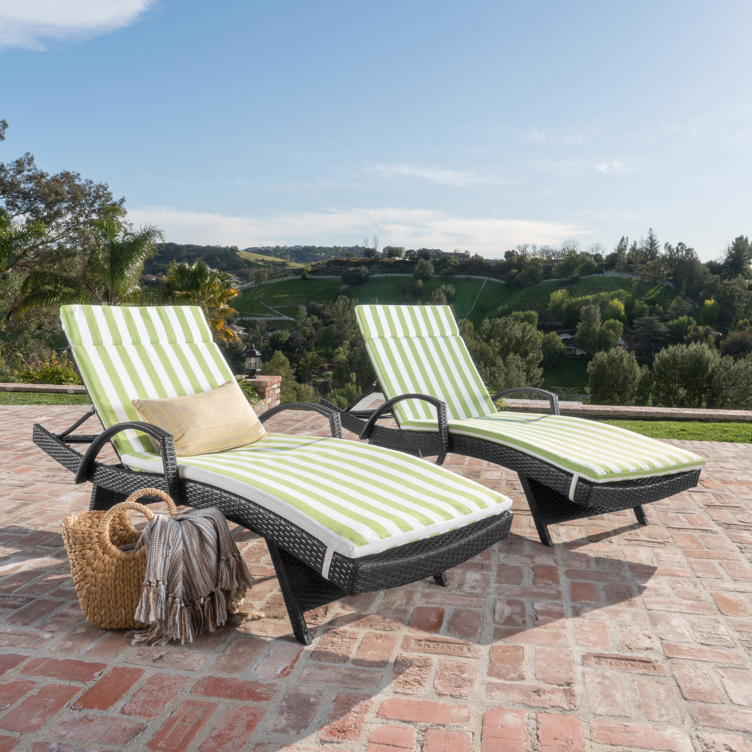 Soleil Outdoor Wicker Chaise Lounges w/ Water Resistant Cushions (Set of 2)
