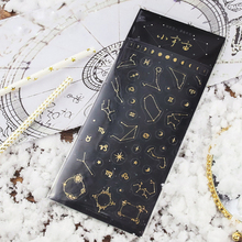Retro Gold Bronzing Adhesive Stickers Planet Star Sky Dream Decoration Planner Diary DIY Hand Scrapbook Stickers(China)