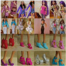 Fashionable 15 Items 5Pairs Shoes + 5 Sets Clothes Trousers Dress For Barbie Doll Handmade(China)