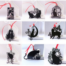 DIY Cute Kawaii Black Cat Metal Bookmark for Book Paper Creative Items Lovely Korean Stationery Gift Package Free shipping 441(China)