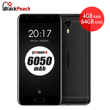 "Original Ulefone Power 2 Mobile Phone 5.5"" FHD MTK6750T Octa Core Android 7.0 4GB RAM 64GB 16MP 6050mAh Touch ID 4G Smartphone(China)"