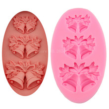 3 hold Christmas Bell Silicone Fondant Soap 3D Cake Mold Cupcake Jelly Candy Chocolate Decoration Baking Tool Moulds FQ3029(China)