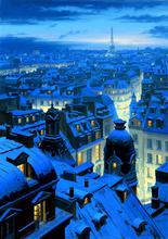 paris night symphony Coastal city Eugeny Lushpin wall decor oil painting picture Art Giclee print on canvas Large Landscape(China)
