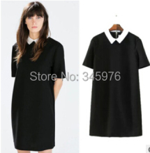 New fashion vestidos women vintage classical cate white peter pan collar straight dress za brand short sleeve dresses