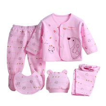 5pcs/set Newborn Baby 0-3M Clothing Set Brand Baby Boy Girl Clothes 100% Cotton Cartoon Underwear(China)