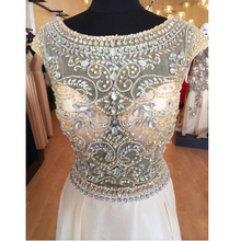 Real Phonto Luxury  Long Evening Dresses  Rhinestones Corset  Sexy Backless Chiffon Crew-Neck Long Party  Pageant  Prom  Gowns