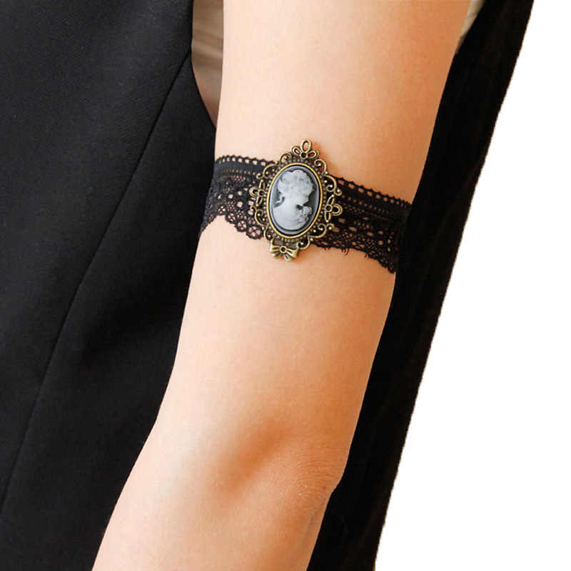 Women Bracelet Victorian Queen Head Relif Goddess Cameo Elastic Black Lace  Gothic Dance Party Arm Band 41df64ae2ff9
