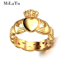 MiLaTu Irish Jewelry Claddagh Rings For Women Love Heart Crown Wedding Band Friendship Rings US Size 7 to 8 Hot Sale  R186GG