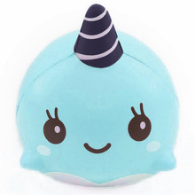 9 CM Soft Squeeze Kawaii Whale Cartoon Blue Squishy Slow Rising Phone Straps Ballchains Practical Ability Interesting Toys Gift(China)