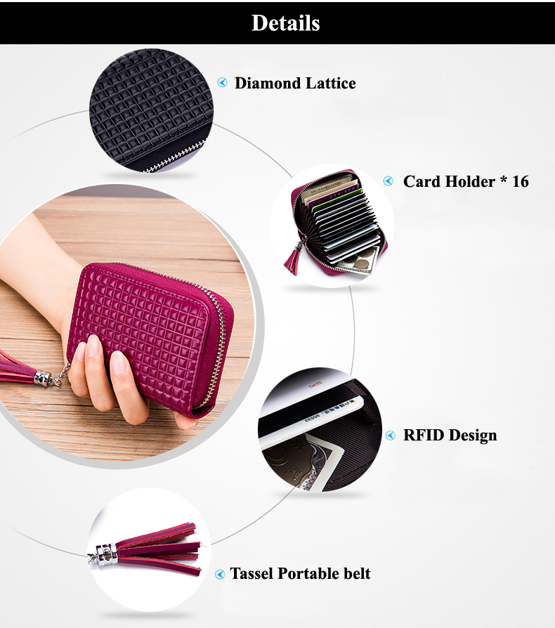 Lomelobo Lady Split Leather Card Wallet Holder Girl Zipper Coin Purse Women Cowhide Large capacity Card Case Housekeeper HCL7126 Details (02)