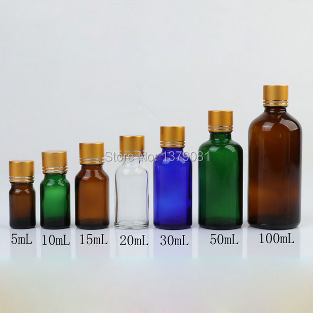 5ml,10ml,15ml,20ml,30ml,50ml,100ml Colorful Glass Bottle With Gold Screw Cap Tangent Line,Essential Oil Bottle DIY Sample Vials<br>
