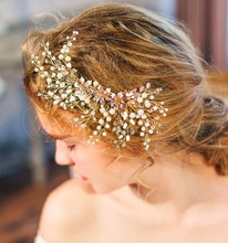 Dower  me Stunning Pearl Flower Gold Wedding Tiara Hair Clip Comb Handmade Bridal Headpiece Accessories
