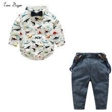 Tem Doger Baby Boys Clothes Suits Bowtie Dinosaur Shirt Rompers + Overalls 2pcs Toddler Bodysuit Outfits Infant Party Jumpsuits