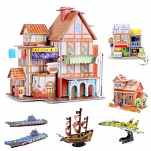 3D DIY Puzzle Jigsaw Baby toy Kid Early learning Castle Construction pattern gift For Children Houses Puzzle(China)