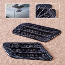 New 2x Car Side Carbon Fiber Air Vent Cover Hole Intake Duct Flow Grille Decoration Sticker for VW Cruze Audi A3 A4 BMW F10 Polo