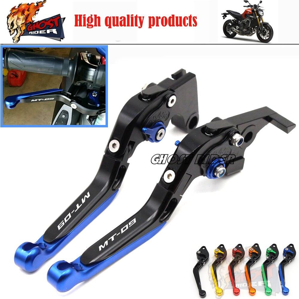 For YAMAHA MT 09 MT-09 Tracer 2014-2015 Motorbike Adjustable Folding Extendable Brake Clutch Levers LOGO MT-09 Blue<br>
