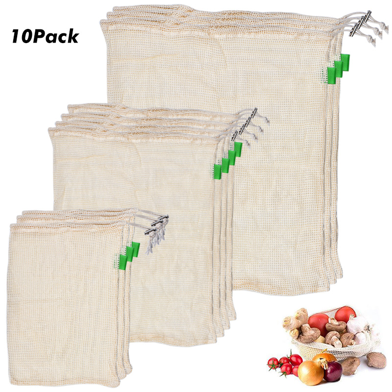 10pcs Set Net Bags Sack Support Grocery Fruits Pouch Cover Protector Transparent