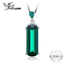 JewelryPalace Fancy Cut 4.4ct Green Russian Nano Created Emerald 925 Sterling Silver Pendant Luxury Jewelry For Women Party Gift