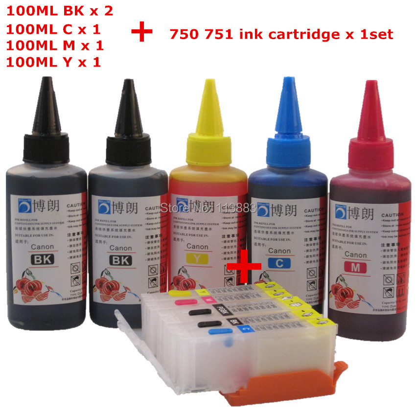 PGI-750 Refillable ink cartridge for CANON iP7270 ix6870 MG5570 MG6470 MG5670 MG5470 MX727 IX6770 + Dey ink 5color Universal<br><br>Aliexpress