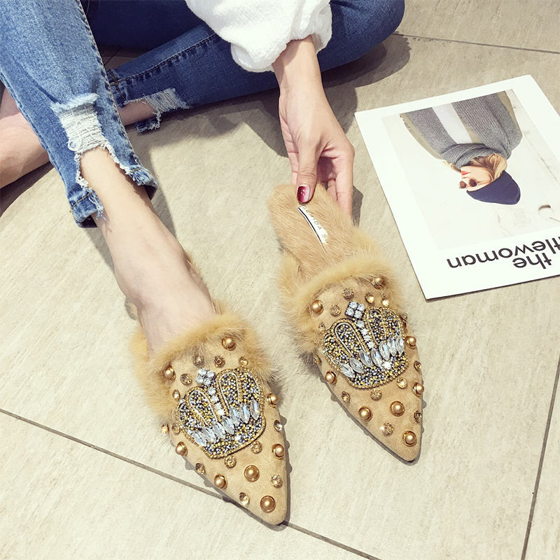 SWYIVY Flat Muller Shoes Woman Half Slippers Rivet 2019 Spring New Female Velvet Fur Casual Shoes Slides Rhinestone Woam Mullers