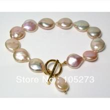 New Free Shipping Pearl Jewelry Gold-Pink 12-13mm Natural Freshwater Pearl Bracelet With Karen Gold Vermeil Clasp & Pearl Charm