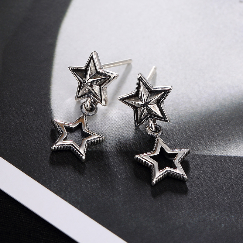 Thai silver gothic wind restoring ancient ways ms joker stars stud earrings earrings wholesale unique personality