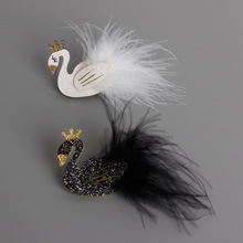 New Lovely Cartoon Black And White Swan Baby Hairpins Kids Hair Clips Girls Hair Accessories Princess Barrette Children Headwear