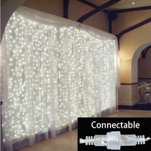 3x3m outdoor connectable led string curtain light fairy Christmas light garland waterproof garden party wedding fairy light(China)