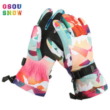 Gsou Snow Snowboard Board Gloves Winter Kids Ski Waterproof Children Luva Neve Enfant Mitaine Snowboards Top Skiing Luvas Heated(China)