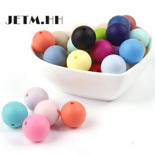 JETM.HH 50pcs Round Silicone Teething Beads 15mm Baby Teether Bead Food Silicone Balls Toys For Girls DIY Teeth Nursing Necklace
