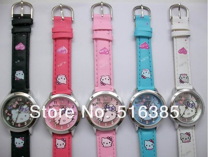 Free & Drop Ship! 10pcs Hello Kitty watch Lady Students Girls Womens Woman Fashion Gift Quartz Wrist Watch, 5 Colors Available(China (Mainland))