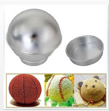free shipping Bakeware Tin Kitchen Mould Tools 3D ball mold Half Ball Sphere Cake Pan Baking Mold metal sphere 04044(China)