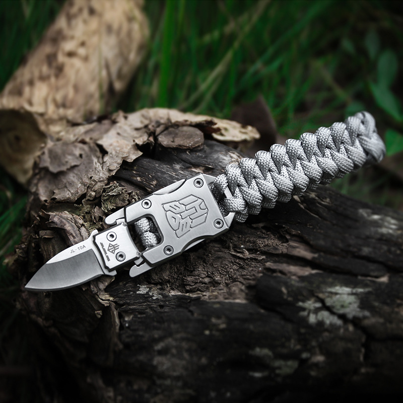 EDC outdoor survival Paracord Multitool Defensive Baton Camp Equipment Bracelet With Folding knife Multi functional self-defense bracelet survival tool (5)