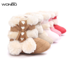 2017 Cute Ball Winter Boots Fashion Soft Bottom Baby Moccasin Baby First Walkers Baby Warm Boots Non-slip Boots for Baby Girls