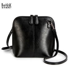 BRIGGS Fashion Women's Genuine Leather Shoulder Bags Vintage Women Shell Messenger Bag 2016 Designer Brand Small Crossbody Bags(China)